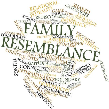 critique: Abstract word cloud for Family resemblance with related tags and terms Stock Photo