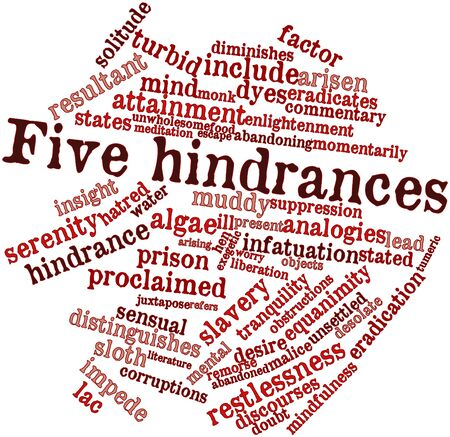 equanimity: Abstract word cloud for Five hindrances with related tags and terms