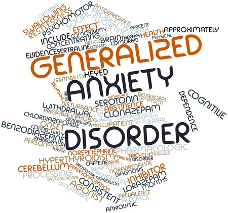disorder: Nube palabra abstracta para el trastorno de ansiedad generalizada con etiquetas y t�rminos relacionados