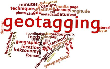 identifiers: Abstract word cloud for Geotagging with related tags and terms Stock Photo