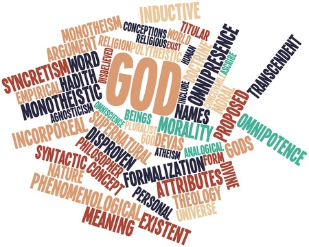 monotheism: Abstract word cloud for God with related tags and terms