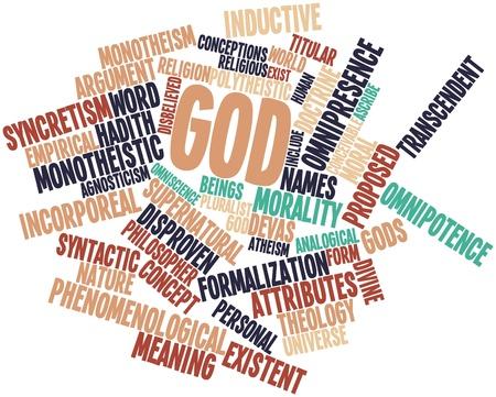 contemporaneous: Word cloud astratto per Dio con tag correlati e termini