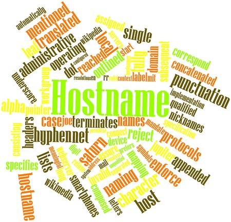 Abstract word cloud for Hostname with related tags and terms photo
