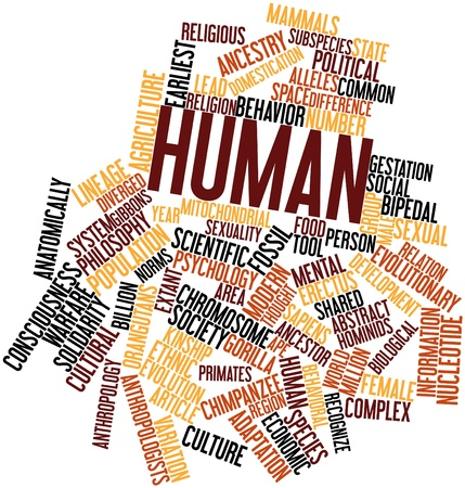 lineage: Abstract word cloud for Human with related tags and terms