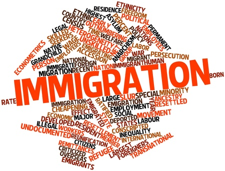 immigrate: Abstract word cloud for Immigration with related tags and terms Stock Photo