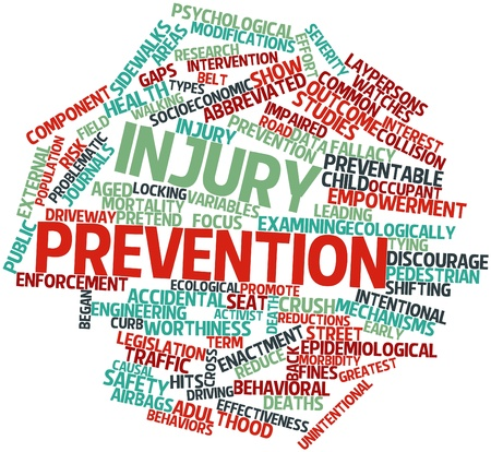 behavioral: Abstract word cloud for Injury prevention with related tags and terms Stock Photo