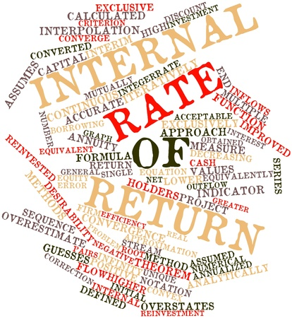 labelled: Abstract word cloud for Internal rate of return with related tags and terms Stock Photo