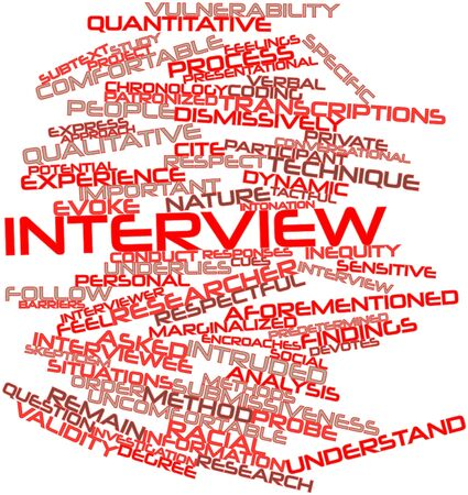 transcribe: Abstract word cloud for Interview with related tags and terms Stock Photo
