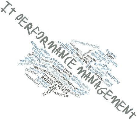 focuses: Abstract word cloud for IT performance management with related tags and terms