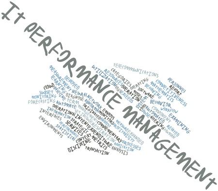 competitividad: Nube palabra abstracta para la gesti�n del rendimiento de TI con las etiquetas y t�rminos relacionados Foto de archivo