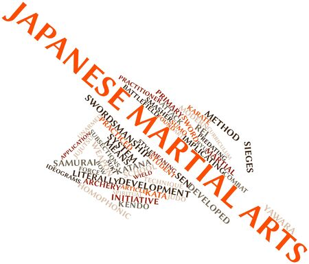 samurai warrior: Abstract word cloud for Japanese martial arts with related tags and terms Stock Photo