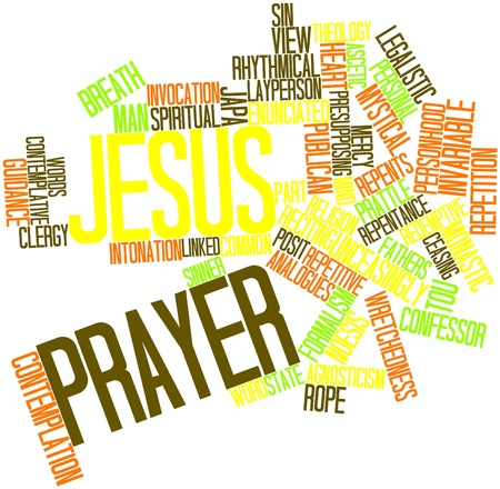 posit: Abstract word cloud for Jesus Prayer with related tags and terms Stock Photo