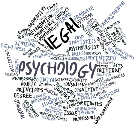 eyewitness: Abstract word cloud for Legal psychology with related tags and terms