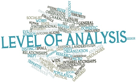 Abstract word cloud for Level of analysis with related tags and terms