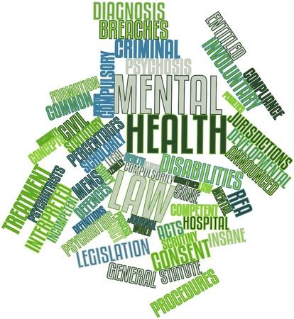 insanity: Nube palabra abstracta por la ley de salud mental con las etiquetas y t�rminos relacionados Foto de archivo