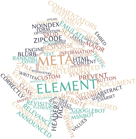 Abstract word cloud for Meta element with related tags and terms Stock Photo - 16629054