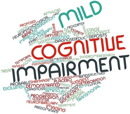 encogimiento: Nube palabra abstracta por deterioro cognitivo leve con etiquetas y t�rminos relacionados Foto de archivo