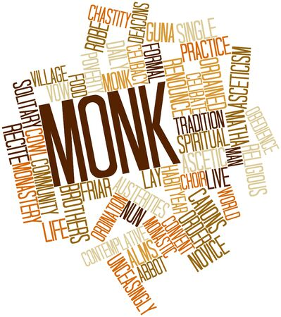 stereotypically: Abstract word cloud for Monk with related tags and terms Stock Photo