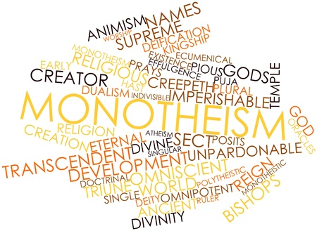 deification: Abstract word cloud for Monotheism with related tags and terms Stock Photo
