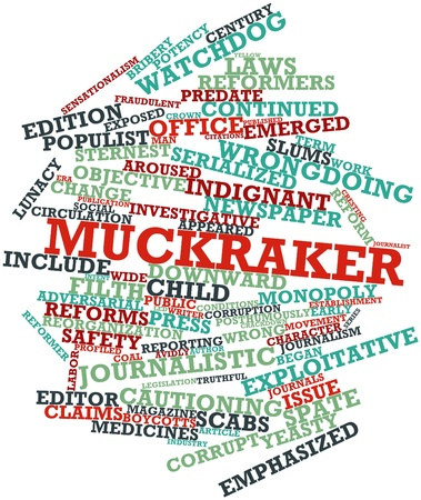 Abstract word cloud for Muckraker with related tags and terms