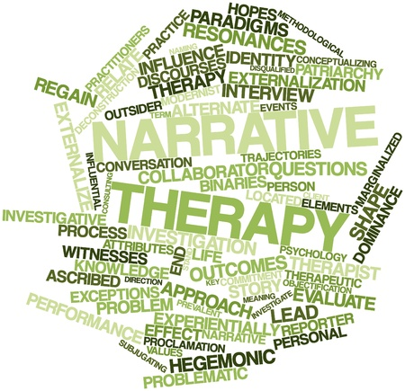 ascribed: Abstract word cloud for Narrative therapy with related tags and terms