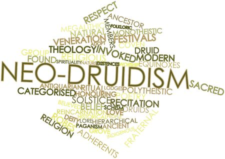 coven: Abstract word cloud for Neo-Druidism with related tags and terms Stock Photo
