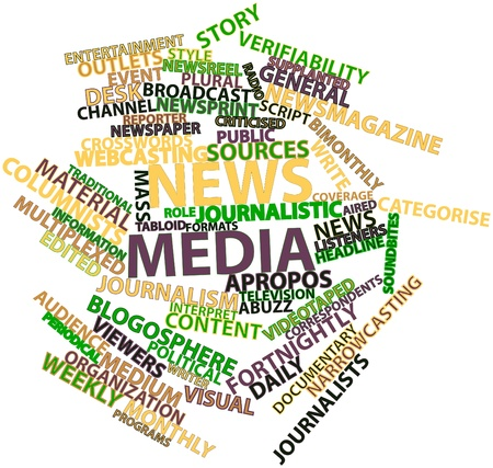 distribute: Abstract word cloud for News media with related tags and terms Stock Photo