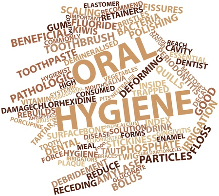 gum: Abstract word cloud for Oral hygiene with related tags and terms Stock Photo
