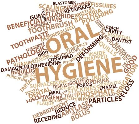 higiene bucal: Nube palabra abstracta para la higiene oral con etiquetas y t�rminos relacionados