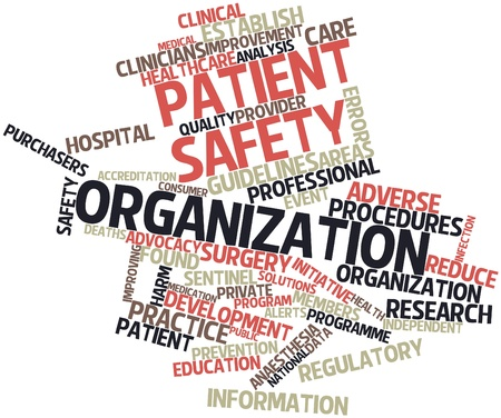 patient data: Abstract word cloud for Patient safety organization with related tags and terms Stock Photo