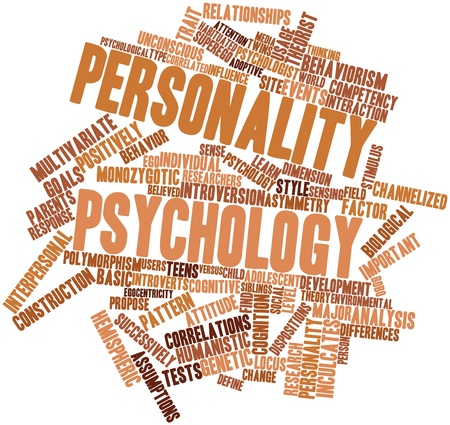 successively: Abstract word cloud for Personality psychology with related tags and terms Stock Photo