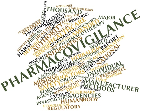 regulated: Abstract word cloud for Pharmacovigilance with related tags and terms Stock Photo