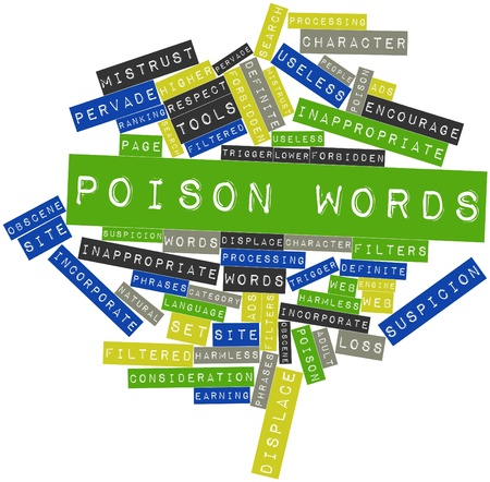 obscene: Abstract word cloud for Poison words with related tags and terms