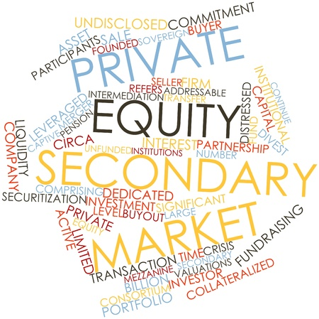 public transfer: Abstract word cloud for Private equity secondary market with related tags and terms