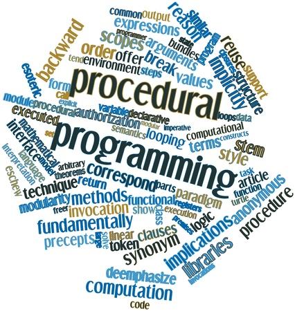 arbitrario: Nube palabra abstracta para la programación de procedimiento con las etiquetas y términos relacionados Foto de archivo