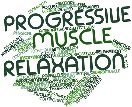 muscle tension: Abstract word cloud for Progressive muscle relaxation with related tags and terms