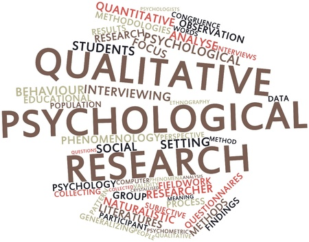 quantitative: Abstract word cloud for Qualitative psychological research with related tags and terms