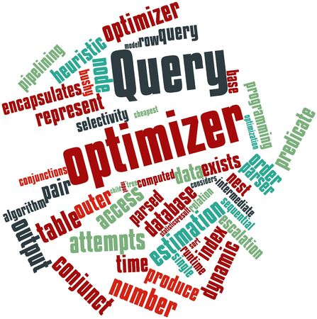 Abstract word cloud for Query optimizer with related tags and terms