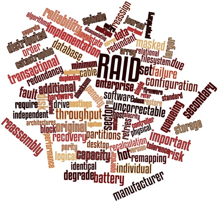 raid: Abstract word cloud for RAID with related tags and terms Stock Photo