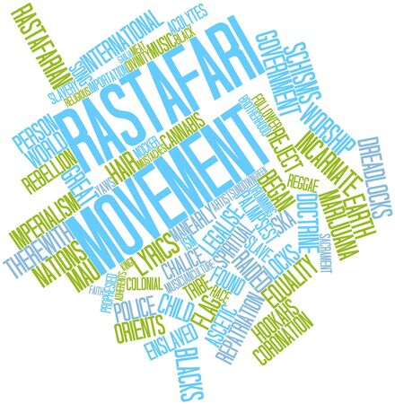 rastafari: Abstract word cloud for Rastafari movement with related tags and terms Stock Photo