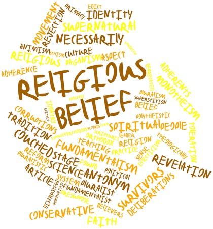 edicto: Nube palabra abstracta para la creencia religiosa con las etiquetas y términos relacionados Foto de archivo