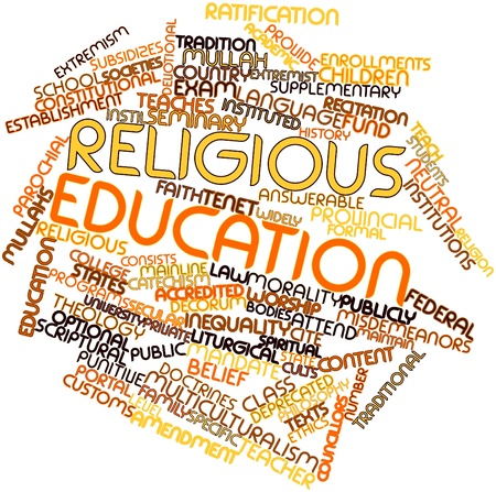 punitive: Abstract word cloud for Religious education with related tags and terms Stock Photo