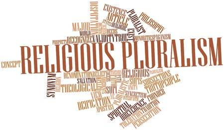deification: Abstract word cloud for Religious pluralism with related tags and terms Stock Photo