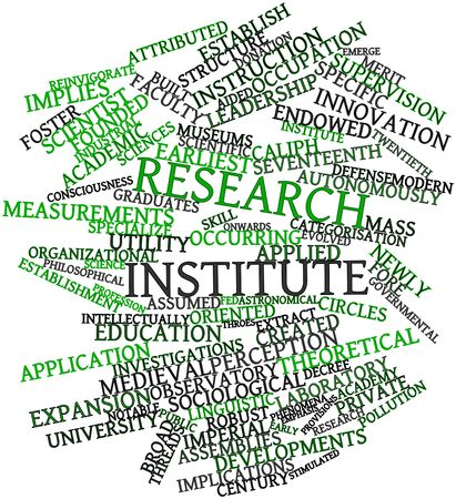 institute: Abstract word cloud for Research institute with related tags and terms Stock Photo