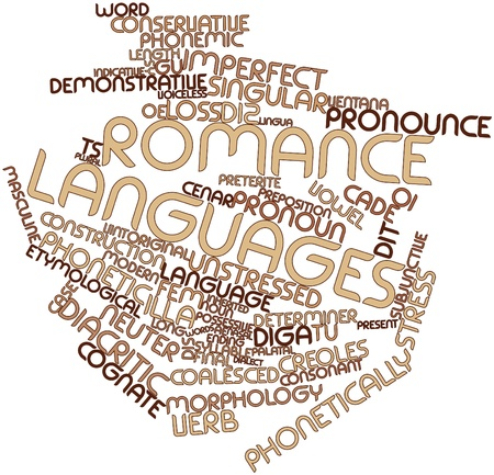 derive: Abstract word cloud for Romance languages with related tags and terms