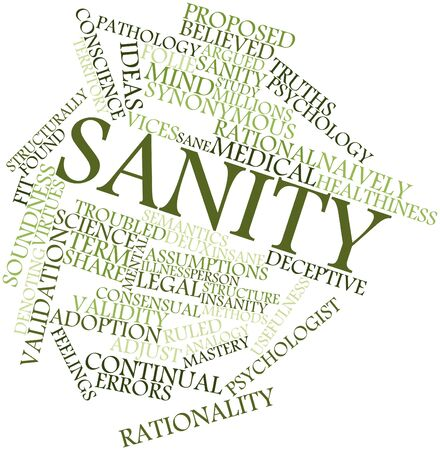 imposed: Abstract word cloud for Sanity with related tags and terms Stock Photo