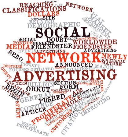 marketers: Abstract word cloud for Social network advertising with related tags and terms Stock Photo