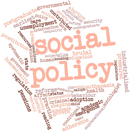 complement: Abstract word cloud for Social policy with related tags and terms Stock Photo