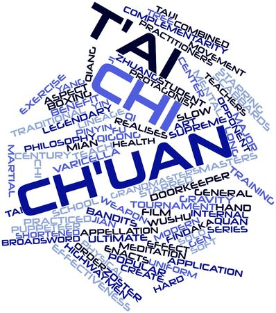 varicelle: Nuage de mot abstrait pour le Tai Chi Chuan avec des �tiquettes et des termes connexes Banque d'images