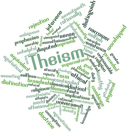 theology: Abstract word cloud for Theism with related tags and terms